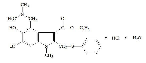 Cодержит не менее 99,0 % и не более 101,0 % C22H25BrN2O3S . HCl в пересчете на безводное и свободное от органических растворителей вещество.  Описание. От белого до белого с зеленовато-желтоватым или кремовым оттенком кристаллический порошок. Растворимость. Мало растворим в хлороформе и спирте 96 %, практически нерастворим в воде. Подлинность. Инфракрасный спектр субстанции, снятый в диске с калия бромидом, в области от 4000 до 400 см-1 по положению полос поглощения должен соответствовать рисунку спектра арбидола (Приложение 1). Ультрафиолетовый спектр поглощения 0,001 % раствора субстанции в смеси спирт 96 % – 0,1 М раствор хлористоводородной кислоты (9:1) в области от 210 до 400 нм должен иметь максимумы при 225 нм, 255 нм и  316 нм и минимумы при 244 нм и 284 нм. 0,1 г субстанции смешивают в фарфоровом тигле с 0,5 г смеси для спекания и прокаливают. По охлаждении остаток растворяют в 10 мл воды и фильтруют.  2 мл фильтрата дают характерную реакцию А на бромиды. 2 мл фильтрата дают характерную реакцию на сульфаты. 0,1 г субстанции встряхивают с 5 мл азотной кислоты разведенной 16 % и фильтруют. Полученный фильтрат дает характерную реакцию на хлориды. Посторонние примеси. Испытуемый раствор. 0,05 г субстанции растворяют в 5 мл метанола. Раствор сравнения. 1 мл испытуемого раствора разбавляют метанолом до 100 мл. Немедленно после приготовления растворов на линию старта пластинки со слоем силикагеля 60 F254 наносят 20 мкл (200 мкг) испытуемого раствора, 10 мкл (1 мкг) и 5 мкл (0,5 мкг) раствора сравнения. Пластинку с нанесенными пробами сушат на воздухе, помещают в камеру со смесью хлороформ – ацетон – диэтиламин (5:4:1) и хроматографируют восходящим методом. Когда фронт подвижной фазы пройдет около 3/4 пластинки, её вынимают из камеры, сушат при температуре 120 ºС в течение 10 мин и просматривают в УФ свете при 254 нм. Суммарное содержание посторонних примесей, оцененное по совокупности величины и интенсивности поглощения их пятен на хроматограмме испытуемого раство